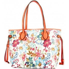 Womens Delle Coral Floral Large Tote Handbag