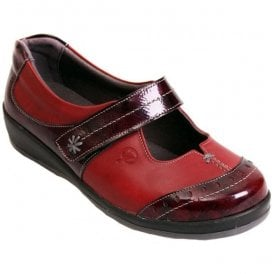 Womens Filton Red/Burgundy Patent Leather Extra Wide Shoes