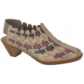 Sina Taupe, Purple & Navy Lattice Leather Sling-Back Sandals 46778-62
