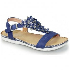 Womens Temple Blue T-Bar Sandals JLY064 BL