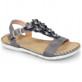 Womens Temple Grey T-Bar Sandals JLY064 GR