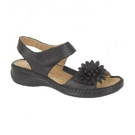 Womens Black Burnished Twin Touch Fastening Sandals L373A