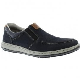 Mens Patros Pazifik Navy Leather Slip On Shoes 17360-15