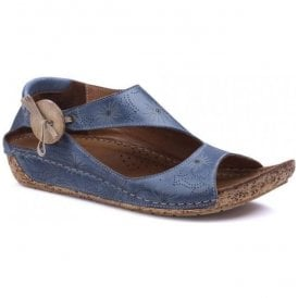 Womens Arlo Denim Leather Elasticated Button Sandals