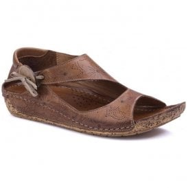 Womens Arlo Brown Leather Elasticated Button Sandals
