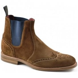 Mens Hoskins Tan Suede Brogue Boots