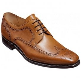 Mens Larry Cedar Leather Brogue Derby Shoes