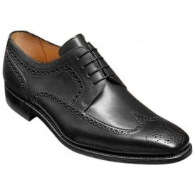 Mens Larry Black Leather Brogue Derby Shoes