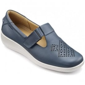 Womens Sunset Extra Wide Blue River Leather Velcro Shoes