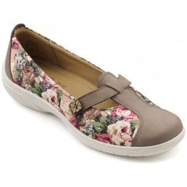 Womens Nirvana Truffle/Rose Floral Textile/Nubuck T-Bar Shoes