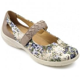 Womens Shake Extra Wide Cream Floral Textile/Nubuck Strap Over Shoes