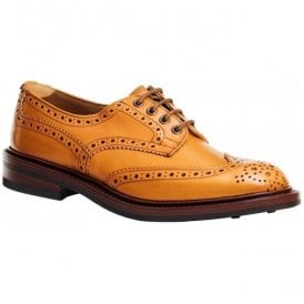Mens Bourton Leather Sole Tan Calf full Brogue Shoes