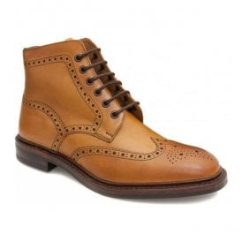 Mens Burford Dainite Tan Full Brogue Lace Up Boots