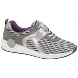 Womens Harja Grey/Pink Lace Up Trainers 918001 300 003