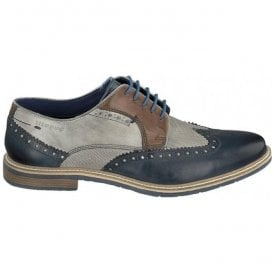 Mens Adamo Dark Blue/Grey Lace Up Derby Brogue Shoes 312-25904-1111-4115