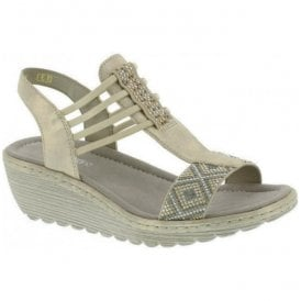 Womens Brillastic Gold Elasticated T-bar Sandals K3747-60