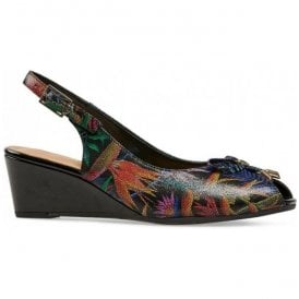 Womens Oxley Paradise Print/Black Sling Back Wedge Sandals 2668140