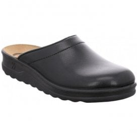 Mens Village 260 Black Leather Mule Slippers 49060 95 100