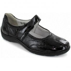 Womens Henni Taipei Black Leather Mary Jane Velcro Shoes 496302 143 001