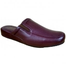 Mens Ian Burgundy Leather Mule Slippers