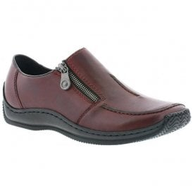 Womens Lugano Burgundy Zip-Up Casual Shoe L1780-35