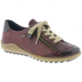 Womens Lugano Red Combi Leather Trainers R4703-35
