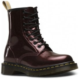 Womens Vegan 1460 W Vegan Oxblood Chrome Paint Metallic Boots 23922601