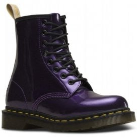 Womens Vegan 1460 W Vegan Dark Purple Chrome Paint Metallic Boots 23922514