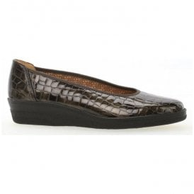 Womens Piquet Fango Brown Alligator Patent Slip On Pump Shoes 96.400.93