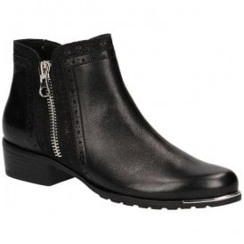 Womens Black Combi Leather Ankle Boots 9-25403-21 019