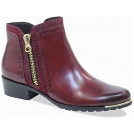 Womens Bordo Combi Leather Ankle Boots 9-25403-21 551