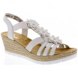 Womens White Wedge Slip-On Sandals 61949-80