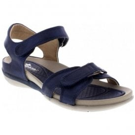 Womens Blue Strap-Over Velcro Sandals V9462-14