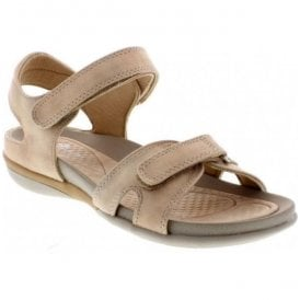 Womens Beige Strap-Over Velcro Sandals V9462-62
