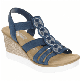 Womens Navy Slip-On Wedge Sandals 65515-14