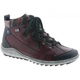 Womens Red Combi Waterproof Ankle Boots R1495-35