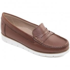 Womens Nola Tan Slip-On Moccasin Shoes
