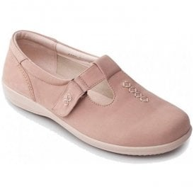 Womens Solo Beige Velcro T-Bar Shoes