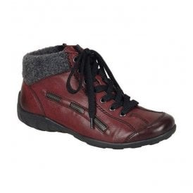 Womens Eagle Red Lace Up Ankle Boots L6540-35