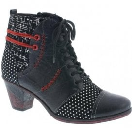 Womens Ottawa Black Combi Lace Up Ankle Boots D8786-02