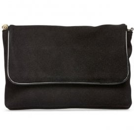 Womens Lolly Black Suede Clutch Handbag 2975130