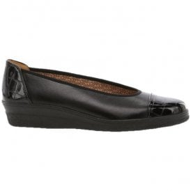 Womens Petunia Black Slip On Wedge Shoes 96.402.67