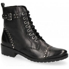 Womens Black Leather Lace Up Ankle Boots 9-25101-21 048