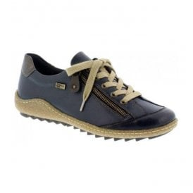 Womens Lugano Blue Combi Leather Trainers R4703-14