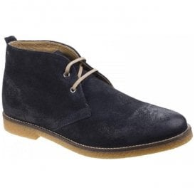 Mens Perry Navy Burnished Leather Desert Boots