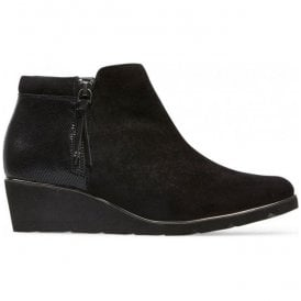 Womens Cass Black Suede/Reptile Ankle Boots 2914130
