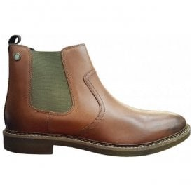 Mens Piper Tan Waxy Leather Pull-On Ankle Boots