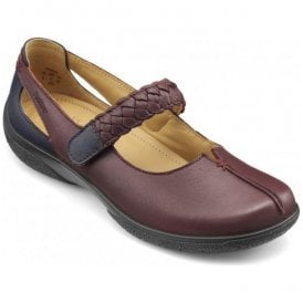 Womens Shake Maroon/Navy Leather Strap Over Extra Wide Shoes