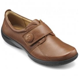 Womens Sugar Dark Tan Leather Velcro Shoes