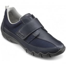 Womens Nicole Extra Wide Navy Leather Velcro Trainers